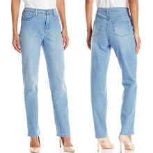 Custom Women High Waist Straight Legs Blue Denim Jeans