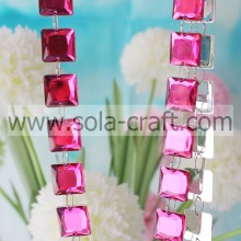 Transparent Rose Color 19MM Plastic Cube Bead Garland For Christmas Decorations