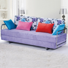 Purple Fabric Upholstered Convertible Functional Sofa Bed