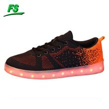 2016 flyknit led lights skate shoes, flyknit skateboard shoes, led skate shoes for men