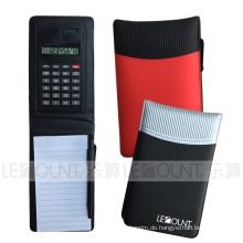 Leder Notizbuch mit Taschenrechner, Kugelschreiber und Memo (LC806B-2)