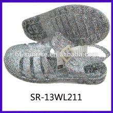 Sandales de gelée à bas prix femme sandales de gelée pvc bling glitter jelly sandals