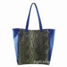 Snake Design Tote Bag with Two Zippers, Made of Jute/PU Material, OEM Printing are Welcome