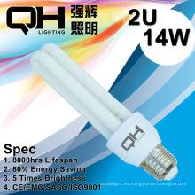 2U 14W ahorro luz/CFL luz/ahorro luz/ahorra energía luz E27 6500K