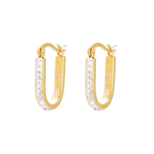 E-581 XP Fashion Simple Gold Design Jewelry Clip en pendientes con CZ sintética