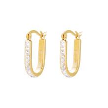 E-581 XP moda simples clipe de jóias de design de ouro em brincos com Synthetic CZ