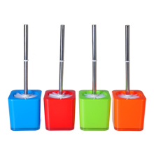 toilet brush and holder PS plastic double thickness square style