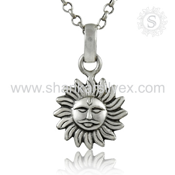 Plain Silver Jewelry Sun Face Pendant Indian Silver Jewelry 925 Silver Jewelry Supplier