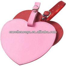 Etiqueta de equipaje de cuero en forma de corazón para 2014