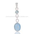 Blue Onyx Gemstone 925 Sterling Silver Women's Pendant