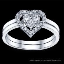 Forma del corazón 925 de plata esterlina anillo de joyería de baile de diamantes