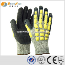 Sunnyhope 13gauge HPPE latex crinkle TPR ударные перчатки, рабочие перчатки