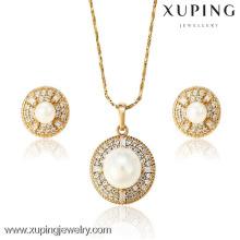 62870 Xuping Fashion White Pearl Jewelry Set, 18 K chapado en oro conjunto de joyas de diamantes