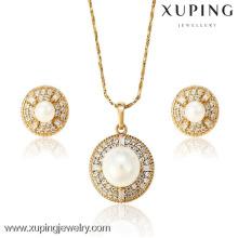 62870 Xuping Fashion White Pearl Jewelry Set, banhado a ouro 18k conjunto de jóias de diamantes