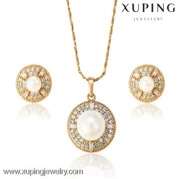 62870 Xuping Fashion White Pearl Jewelry Set, 18 K chapado en oro conjunto de joyas de diamantes