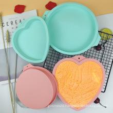 No Stick Baking Tools Toast Bread Pan Heart Shape Layered Cake Mold Big Silicone Cake Trays Mold