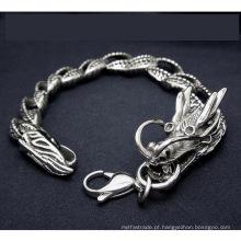 Aço inoxidável homens dragão freio cadeia pulseiras jóia do corpo