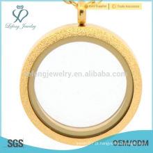 Moda de aço inoxidável matte ouro memória vidro locket jóias