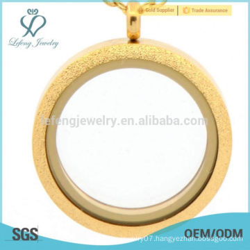 Fashion stainless steel matte gold memory glass locket jewelry