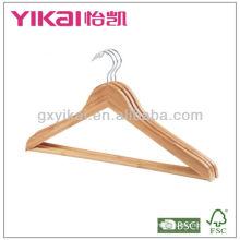 Set of 3pcs flat bamboo shirt hanger with round bar