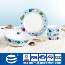 Fabricante 3pcs pequeno-almoço de porcelana definido para fábrica de louças royal kids na China
