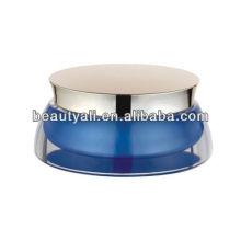 Pot acrylique acrylique à pétonles bleus pour crème