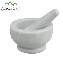 Mortier et pilon en marbre Ustensiles de cuisine en pierre Broyeur d'herbes aux épices de marbre