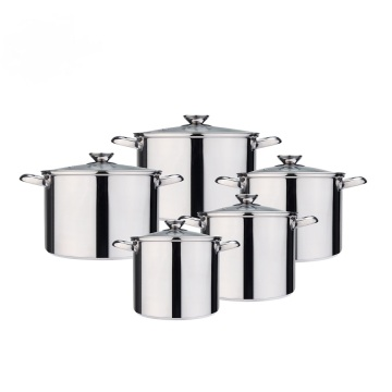 Edelstahl-Suppentopf mit Glasdeckel