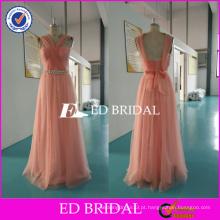 ED Bridal Convertible Peach Tulle Longo vestido de dama de honra com faixa frisada