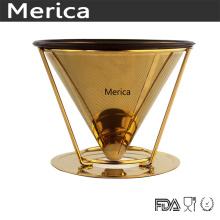Aço inoxidável sem papel dourado derrame sobre o gotejador de café