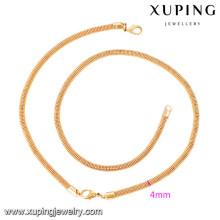63919 Xuping novo design banhado a ouro conjuntos de pulseira e colar