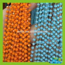 Perles rondes à facettes en verre de cristal de couleur à facettes Chaîne en métal de perles de chapelet de fil