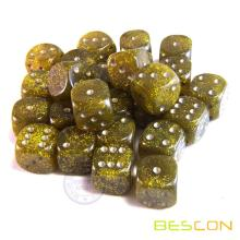Six Sided 16MM Glitter Spot Dice Yellow