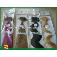Extensão de cabelo pré-ligada de queratina de cabelo humano brasileiro queratina