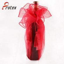 De calidad superior baratos promocionales mini linda botella de vino de organza bolsa