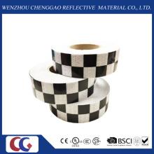 Cinta reflectante de visibilidad de diseño de cuadrícula en blanco y negro (C3500-G)
