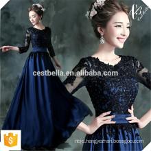 Floor length half sleeve round neck zip up lace elegant long Royal Blue evening dress cheap stock bridesmaid dresses