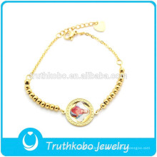 TKB-B0097 Cuentas de oro de 24 quilates de acero inoxidable Blessed Jesus Sticker Photo Bracelet