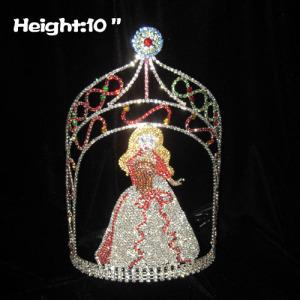 10 pulgadas de altura del concurso de coronas de reina de cristal