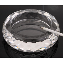 Round Transparent Crystal Glass Ashtray for Home Decoration