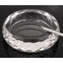Cinzeiro de cristal transparente redondo para decoração de casa