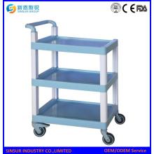Mulit Zweck ABS 3-Tier Regal Medizinische Ausrüstung Carts / Trolley