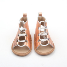 Popular Soft Leather Ladies Flat Sandals