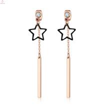 Creative Bar Custom Crystal Gold Plating Tassel Stainless Steel Pendant Star Earrings