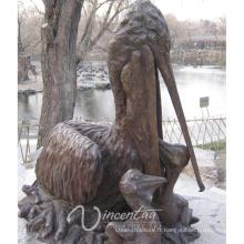 extérieur jardin décoration métal artisanat bronze pelican statue