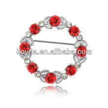 Crystal rhinestone brooch pins ruby flower bulk brooches wholesale custom brooch