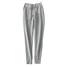 Polainas de las mujeres suaves / calientes 100% cachemira que hace punto los pantalones gruesos con los bolsillos dobles de la correa de cintura