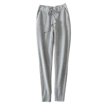Women leggings soft/warm 100% cashmere knitting thick pants with waist belt double pockets
