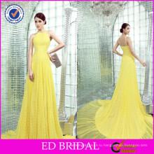 ЭД бретельках Свадебные Плиссированные развертки поезд шифон желтый ночного Вечерние платья в Индии