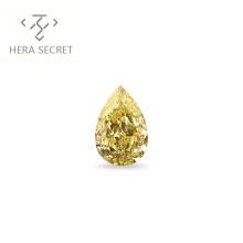 ForeverFlame  fancy yellow 0.8ct Pear Cut tears  diamond CVD CZ Moissanite